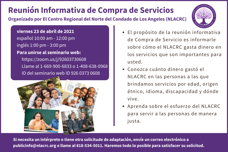 Purchase of Service Meeting Announcement Spanish
